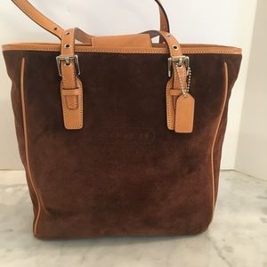 Coach Bags - Coach Leather Suede Chocolate Brown/Tan Trim